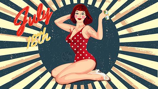 pingirls泳装女郎海报插画图片