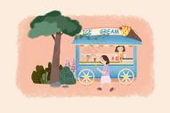 夏天冰淇淋小卖部图片