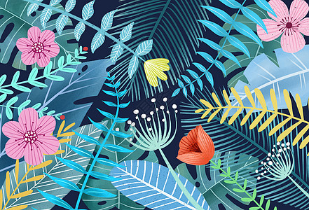 手绘植物花卉背景图片
