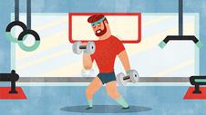 扁平健身运动插画图片