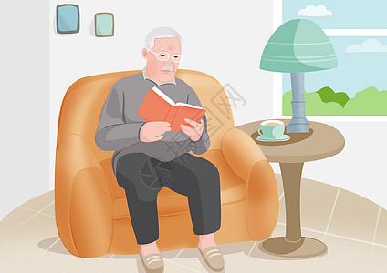 阅读的老人图片