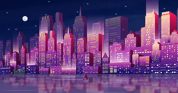 炫酷的立体城市插画图片