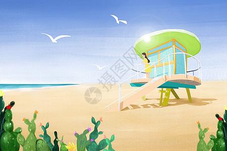 海边房子彩铅手绘