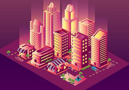 炫酷的等距城市立体插画图片