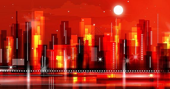 炫酷的印象派城市立体插画图片