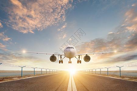 飞机降落场景图片