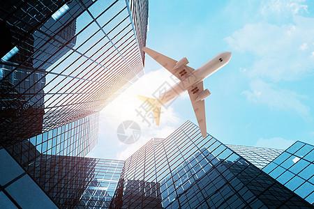 城市上空的飞机图片