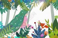 夏日丛林女孩图片