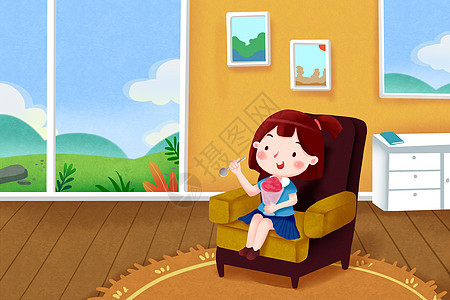 女孩室内吃沙冰图片