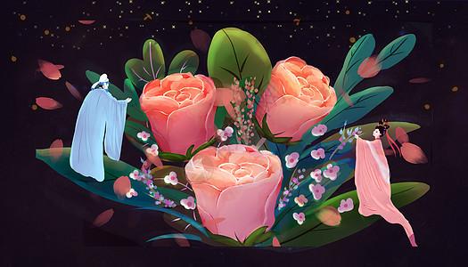 玫瑰花古风手绘图片