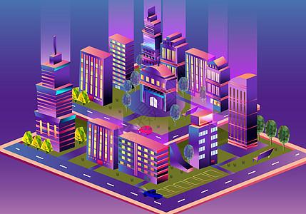 等距城市立体插画图片