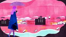 摩登女郎时尚城市风景插画图片