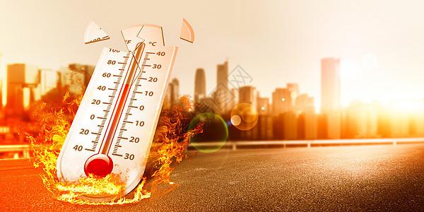 炎热高温酷暑城市图片
