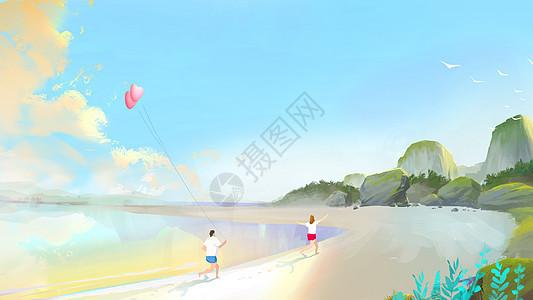 我们一起在海边图片