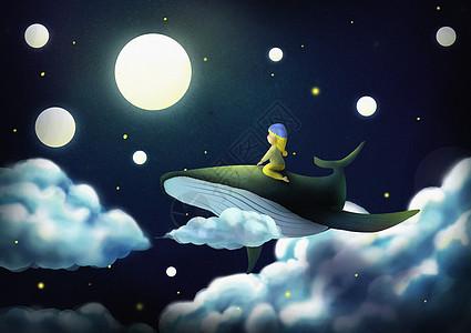 小孩骑鲸鱼图片