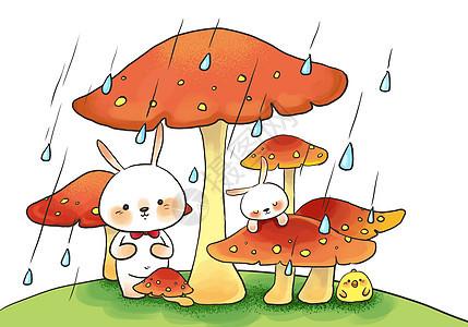 梅雨季蘑菇下的小兔子图片