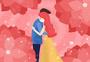 粉色浪漫情侣拥抱情人节插画图片