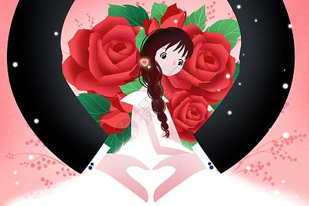 唯美情人节插画图片