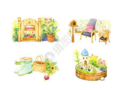 水彩花园插画图片