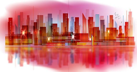 印象城市剪影立体插画图片