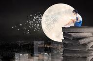 月光下看书的女孩图片