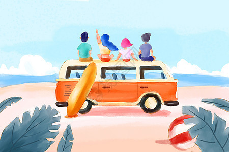 夏天旅行插画图片