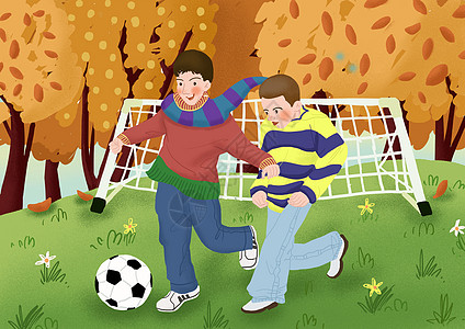 立秋室外踢足球插画图片
