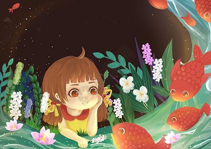 女孩戏鱼图片