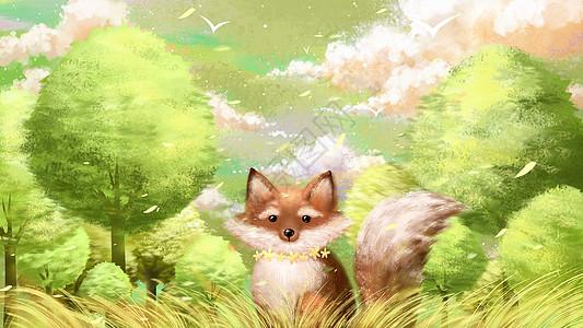 立秋秋天小狐狸森林插画图片