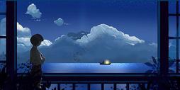 傍晚海景插画图片
