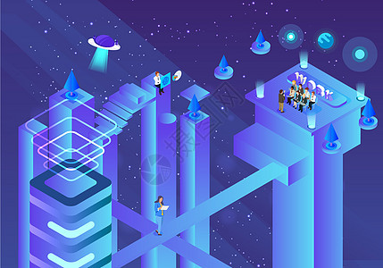 科学宇宙矢量办公立体插画图片