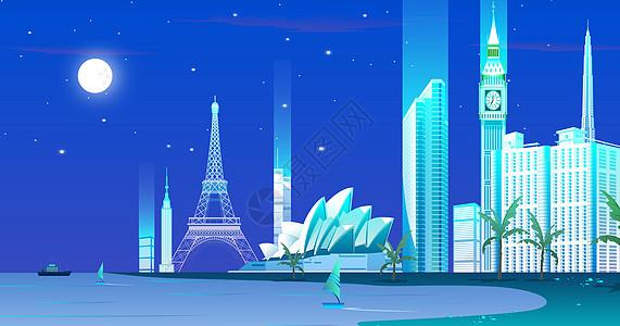 海边的城市夜景图片