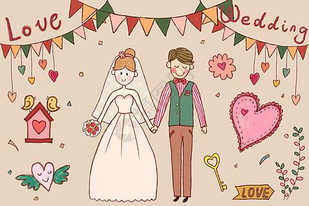 婚礼手账元素背景图片