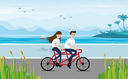 海边骑行图片