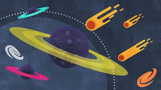 燃烧的陨石与卫星科学插画图片