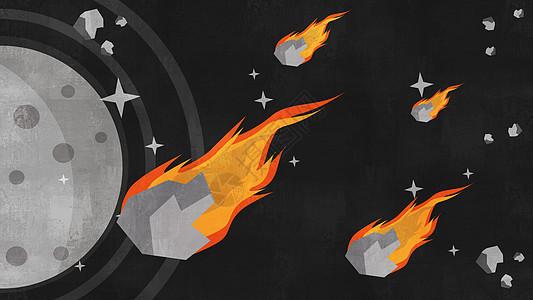 陨石与卫星相撞天体插画图片