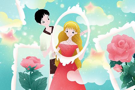 唯美情侣插画图片