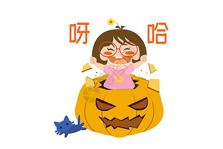 木木酱卡通形象万圣节配图图片
