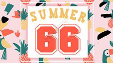 夏日热带动植物火烈鸟背景插画图片