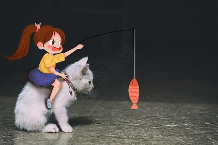 逗猫的女孩——创意摄影插画图片