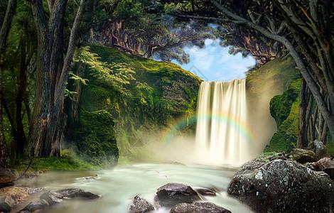 梦幻森林里的瀑布图片