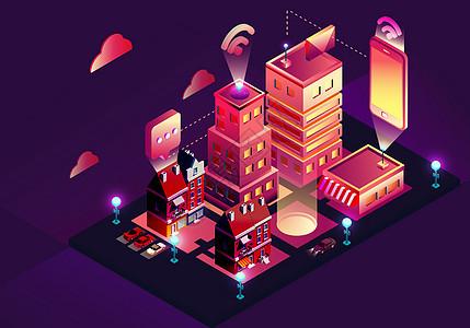 绚丽的城市立体插画图片