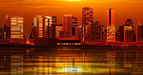 黄昏下的城市立体插画图片