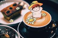 咖啡小男孩创意摄影插画图片