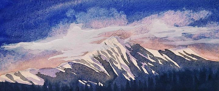 西藏雪山插画图片