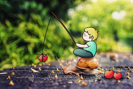 觅食小蜗牛创意摄影插画图片