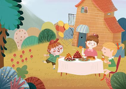 儿童聚会插画图片