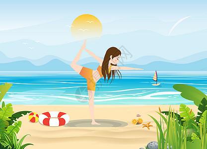 海边瑜伽图片