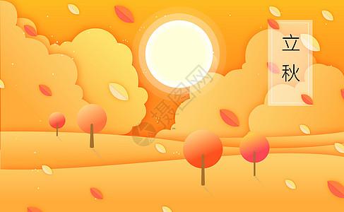 立秋节气黄色背景图片