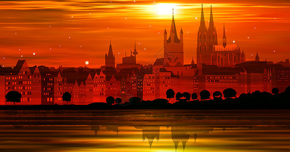 夕阳下的城市立体插画图片